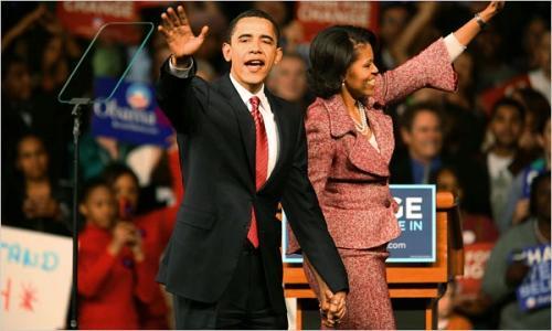 Барак Обама празднует победу